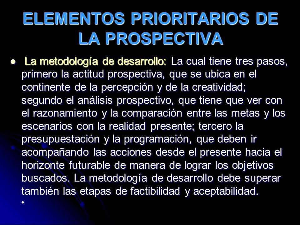 ELEMENTOS PRIORITARIOS DE LA PROSPECTIVA La metodología de desarrollo: La cual tiene tres pasos, primero la actitud prospectiva, que se ubica en el co