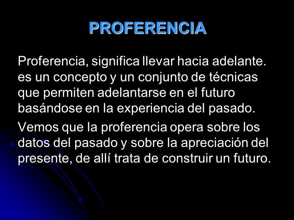 PROFERENCIA Proferencia, significa llevar hacia adelante. es un concepto y un conjunto de técnicas que permiten adelantarse en el futuro basándose en