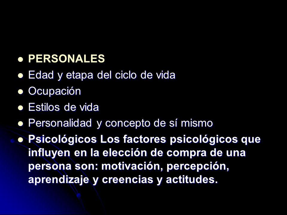PERSONALES Edad y etapa del ciclo de vida Edad y etapa del ciclo de vida Ocupación Ocupación Estilos de vida Estilos de vida Personalidad y concepto d