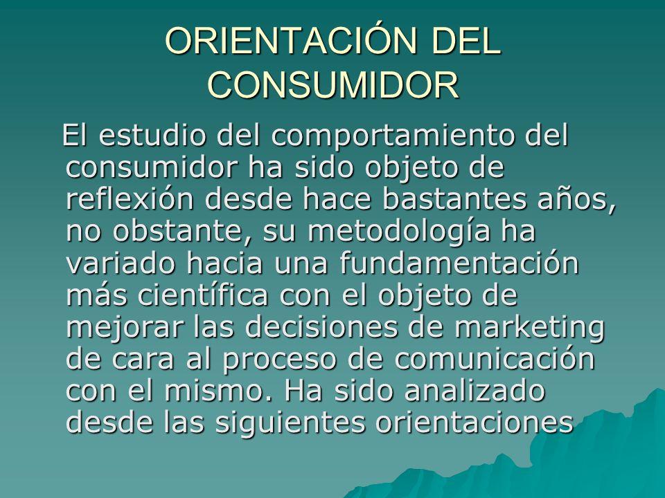 ORIENTACIÓN DEL CONSUMIDOR El estudio del comportamiento del consumidor ha sido objeto de reflexión desde hace bastantes años, no obstante, su metodol