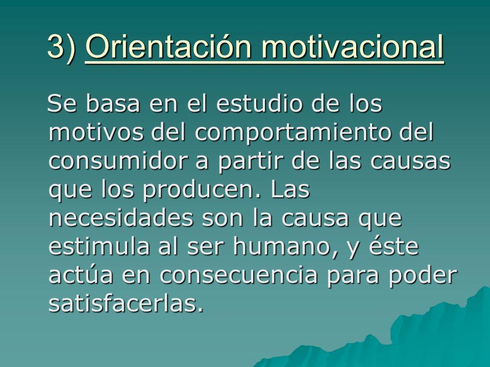 3) Orientación motivacional Se basa en el estudio de los motivos del comportamiento del consumidor a partir de las causas que los producen. Las necesi