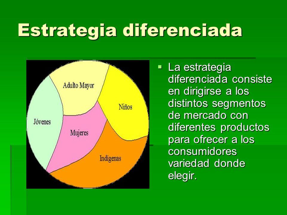 Estrategia diferenciada La estrategia diferenciada consiste en dirigirse a los distintos segmentos de mercado con diferentes productos para ofrecer a los consumidores variedad donde elegir.