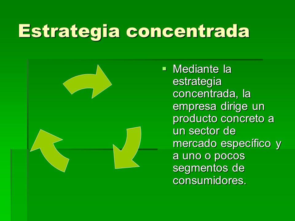 Estrategia concentrada Mediante la estrategia concentrada, la empresa dirige un producto concreto a un sector de mercado específico y a uno o pocos segmentos de consumidores.