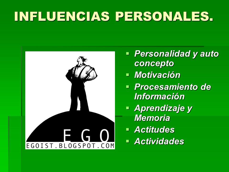 INFLUENCIAS PERSONALES. Personalidad y auto concepto Personalidad y auto concepto Motivación Motivación Procesamiento de Información Procesamiento de