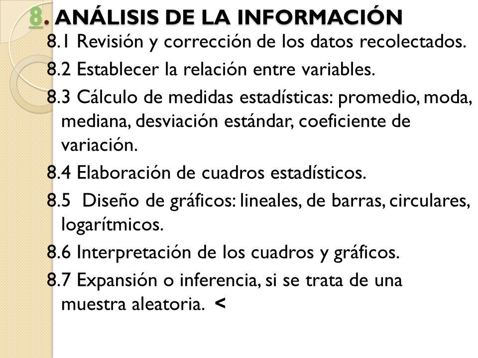 88. ANÁLISIS DE LA INFORMACIÓN 8 8.1 Revisión y corrección de los datos recolectados. 8.2 Establecer la relación entre variables. 8.3 Cálculo de medid