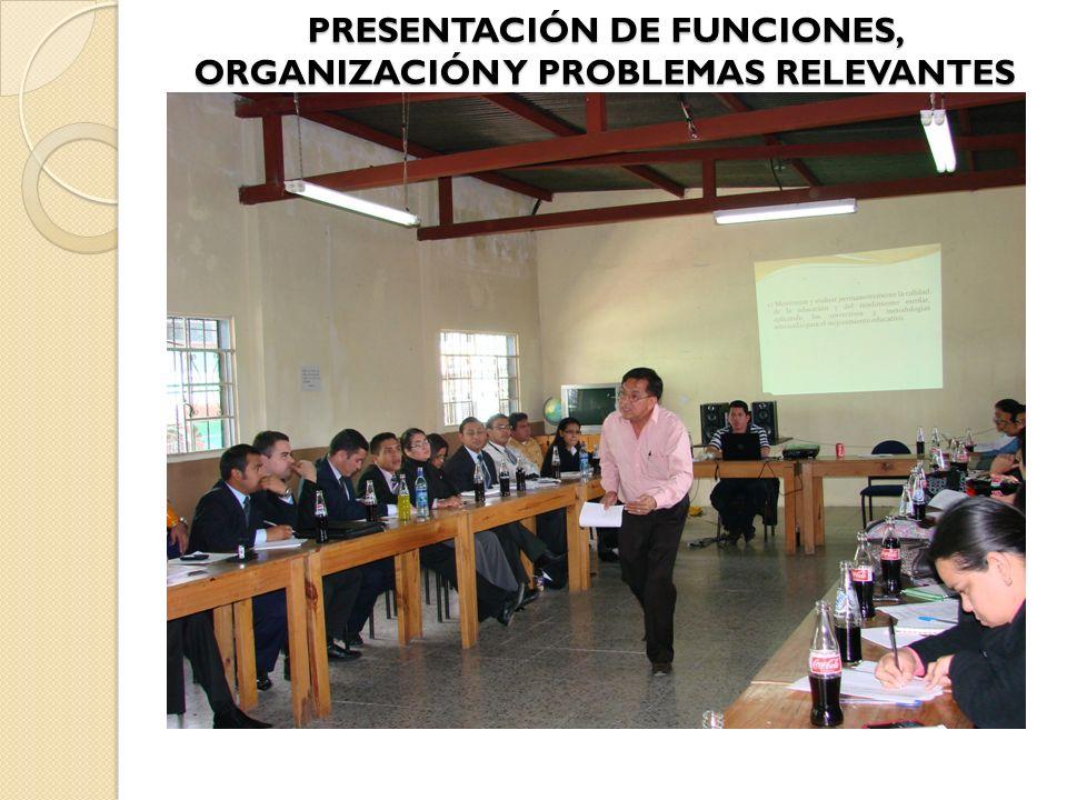 PRESENTACIÓN DE FUNCIONES, ORGANIZACIÓN Y PROBLEMAS RELEVANTES