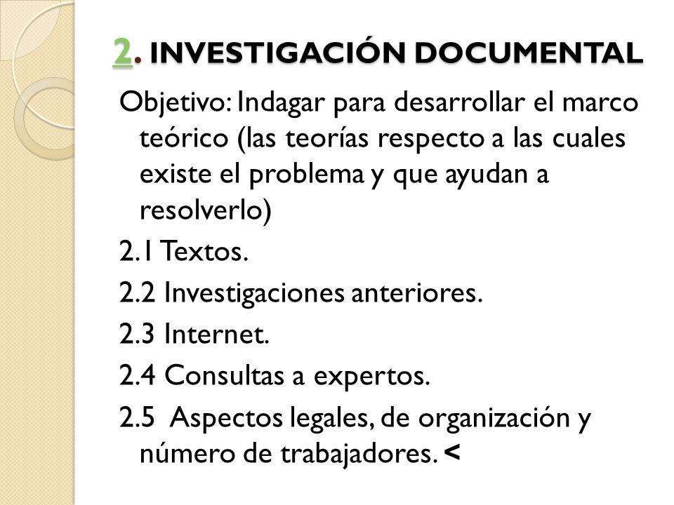 22. INVESTIGACIÓN DOCUMENTAL 2 Objetivo: Indagar para desarrollar el marco teórico (las teorías respecto a las cuales existe el problema y que ayudan