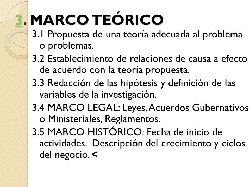33. MARCO TEÓRICO 3 3.1 Propuesta de una teoría adecuada al problema o problemas. 3.2 Establecimiento de relaciones de causa a efecto de acuerdo con l