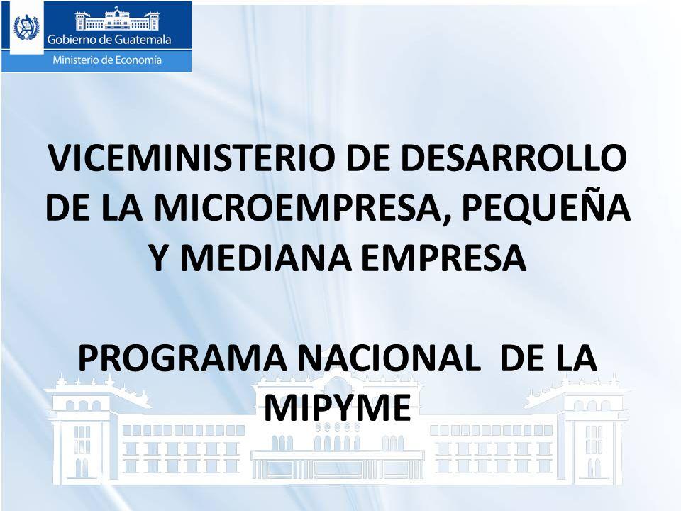 VICEMINISTERIO DE DESARROLLO DE LA MICROEMPRESA, PEQUEÑA Y MEDIANA EMPRESA PROGRAMA NACIONAL DE LA MIPYME
