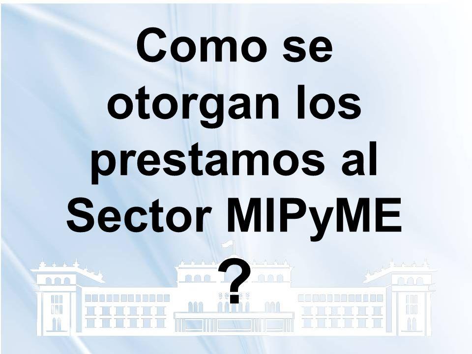 Como se otorgan los prestamos al Sector MIPyME ?