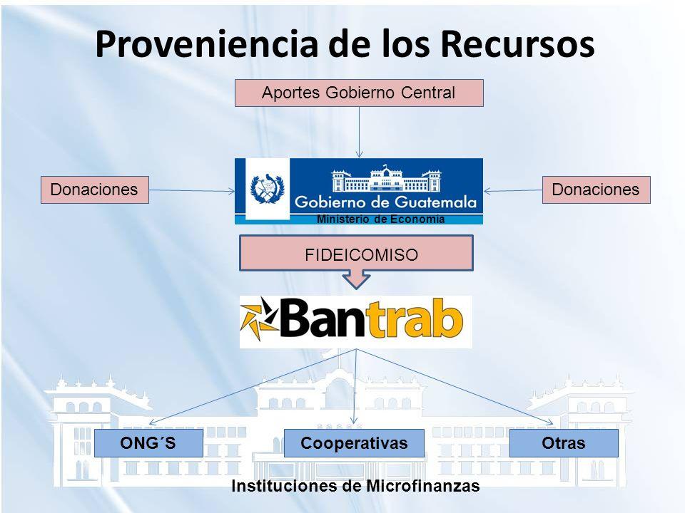 Proveniencia de los Recursos Ministerio de Economía Donaciones Aportes Gobierno Central Donaciones FIDEICOMISO ONG´SCooperativasOtras Instituciones de