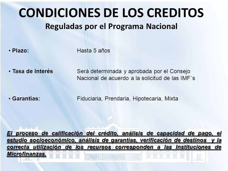 CONDICIONES DE LOS CREDITOS Reguladas por el Programa Nacional Plazo: Hasta 5 años Tasa de InterésSerá determinada y aprobada por el Consejo Nacional