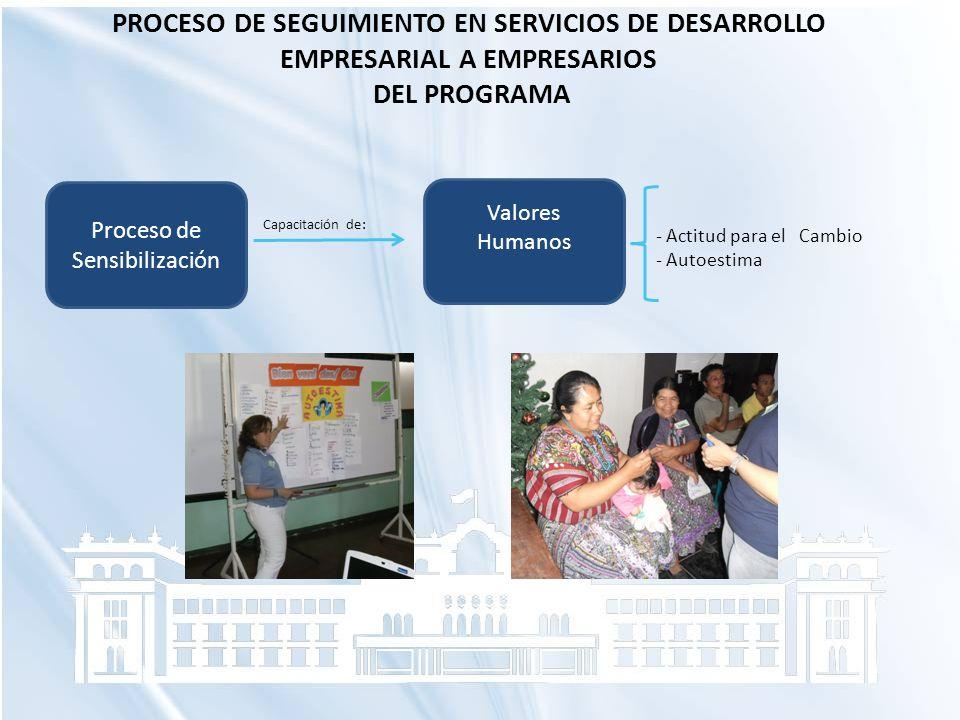 PROCESO DE SEGUIMIENTO EN SERVICIOS DE DESARROLLO EMPRESARIAL A EMPRESARIOS DEL PROGRAMA Proceso de Sensibilización - Actitud para el Cambio - Autoest