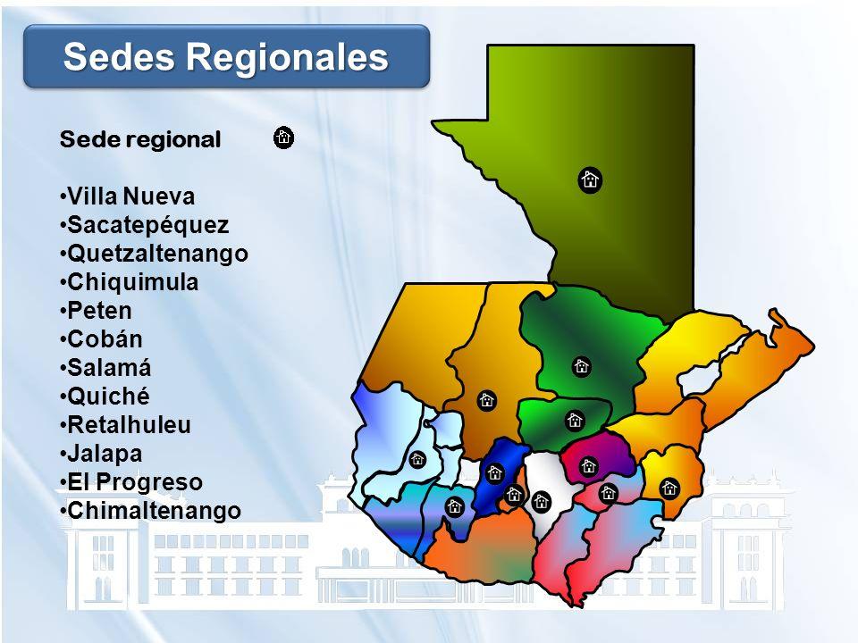 Sede regional Villa Nueva Sacatepéquez Quetzaltenango Chiquimula Peten Cobán Salamá Quiché Retalhuleu Jalapa El Progreso Chimaltenango Sedes Regionale
