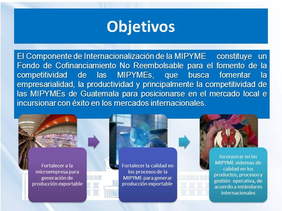 Objetivos El Componente de Internacionalización de la MIPYME constituye un Fondo de Cofinanciamiento No Reembolsable para el fomento de la competitivi