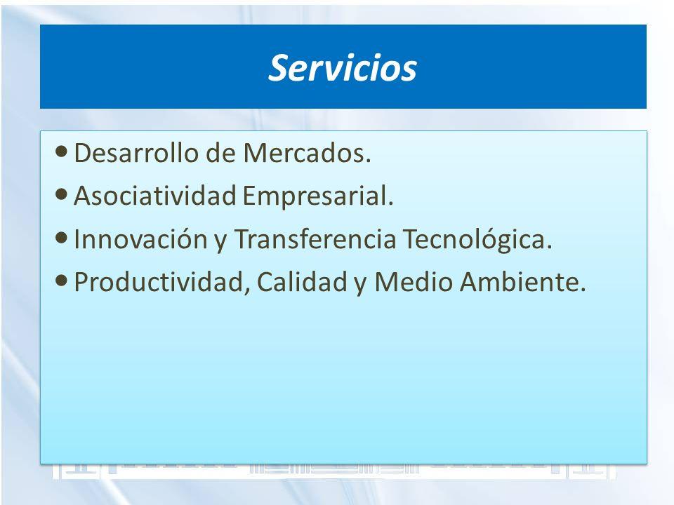 Servicios Desarrollo de Mercados. Asociatividad Empresarial. Innovación y Transferencia Tecnológica. Productividad, Calidad y Medio Ambiente. Desarrol