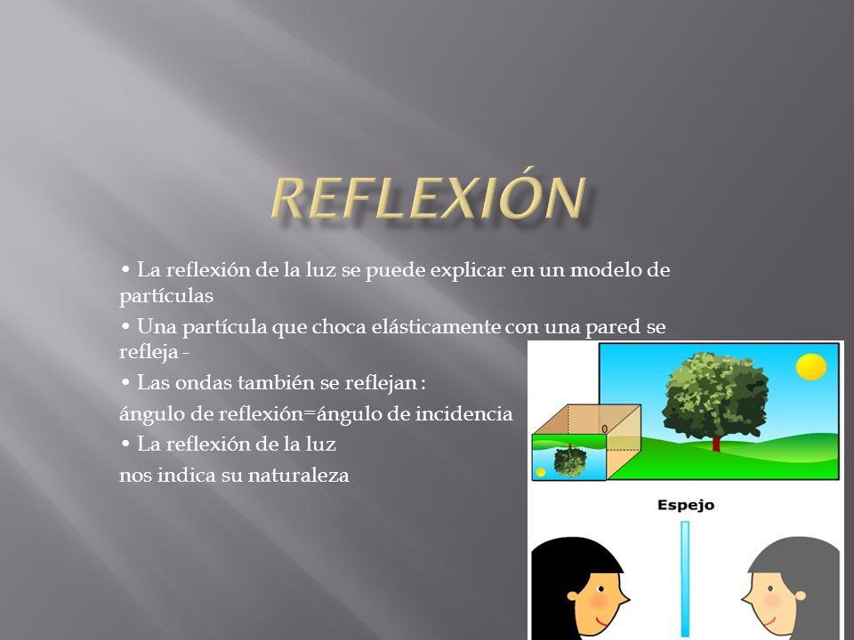 Algunas cosas son visibles porque son fuentes de luz Otras, reflejan la luz Reflexión en superficies rugosas: reflexión difusa Reflexión en superficies suaves: reflexión especular Es independiente del color ( frecuencia)