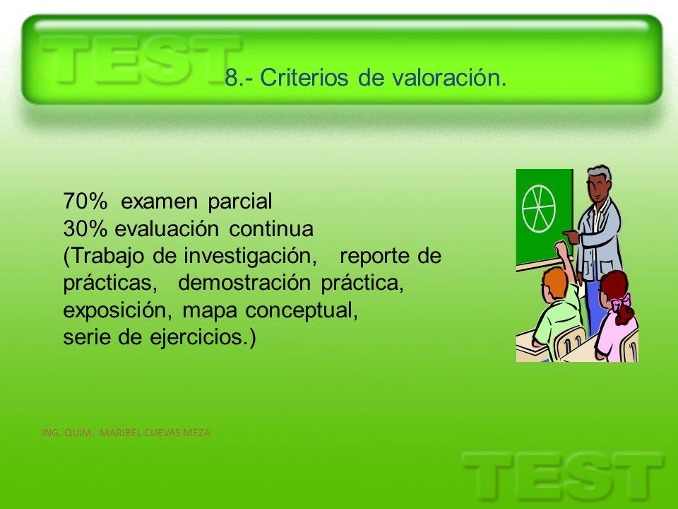8.- Criterios de valoración. 9 70% examen parcial 30% evaluación continua (Trabajo de investigación, reporte de prácticas, demostración práctica, expo