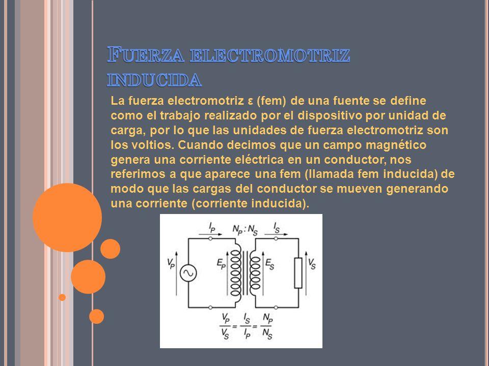 La fuerza electromotriz ε (fem) de una fuente se define como el trabajo realizado por el dispositivo por unidad de carga, por lo que las unidades de f