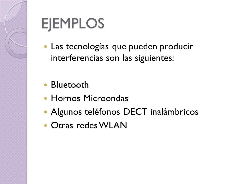 EJEMPLOS Las tecnologías que pueden producir interferencias son las siguientes: Bluetooth Hornos Microondas Algunos teléfonos DECT inalámbricos Otras