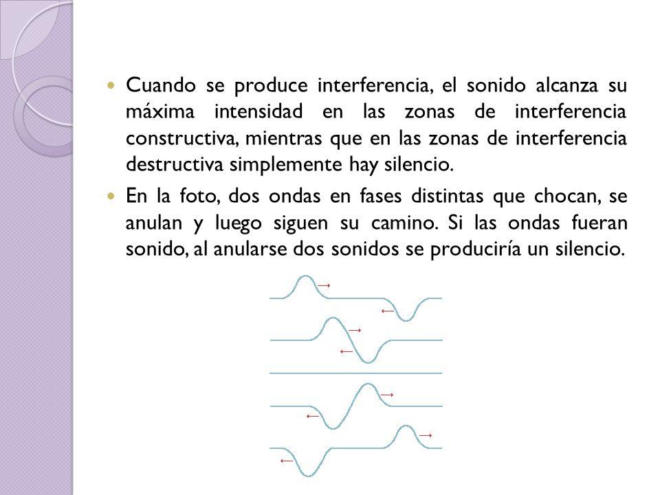 Cuando se produce interferencia, el sonido alcanza su máxima intensidad en las zonas de interferencia constructiva, mientras que en las zonas de inter