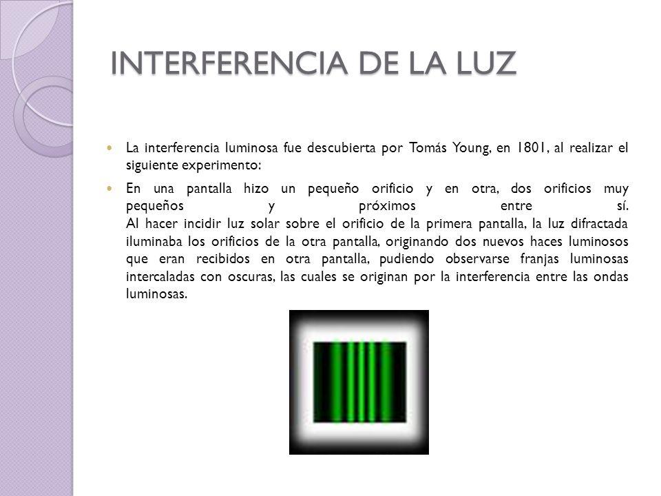 INTERFERENCIA DE LA LUZ La interferencia luminosa fue descubierta por Tomás Young, en 1801, al realizar el siguiente experimento: En una pantalla hizo