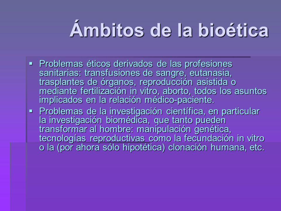 Ámbitos de la bioética Problemas éticos derivados de las profesiones sanitarias: transfusiones de sangre, eutanasia, trasplantes de órganos, reproducc