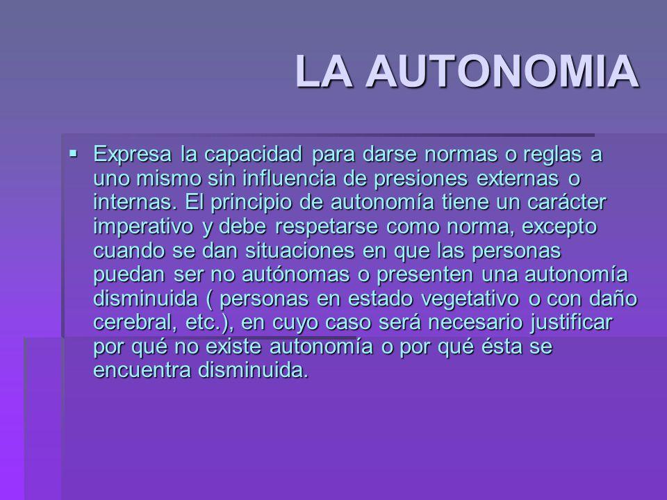 LA AUTONOMIA Expresa la capacidad para darse normas o reglas a uno mismo sin influencia de presiones externas o internas. El principio de autonomía ti