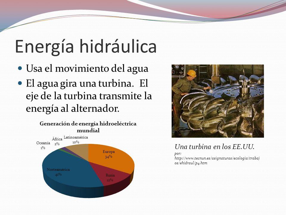 Energía hidráulica Usa el movimiento del agua El agua gira una turbina. El eje de la turbina transmite la energía al alternador. Una turbina en los EE
