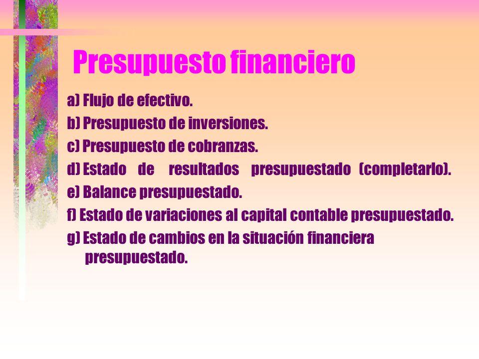 Presupuesto financiero a) Flujo de efectivo. b) Presupuesto de inversiones. c) Presupuesto de cobranzas. d) Estado de resultados presupuestado (comple