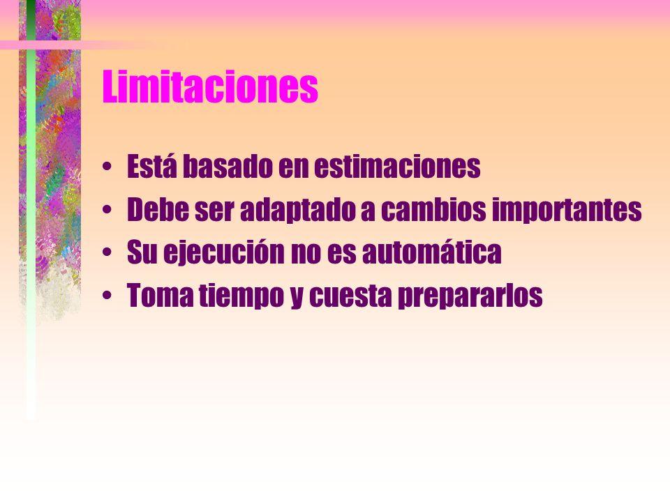 Limitaciones Está basado en estimaciones Debe ser adaptado a cambios importantes Su ejecución no es automática Toma tiempo y cuesta prepararlos