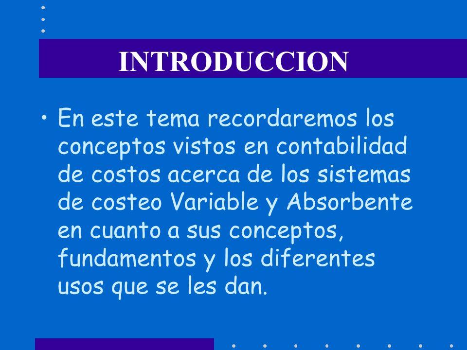 INTRODUCCION En este tema recordaremos los conceptos vistos en contabilidad de costos acerca de los sistemas de costeo Variable y Absorbente en cuanto a sus conceptos, fundamentos y los diferentes usos que se les dan.
