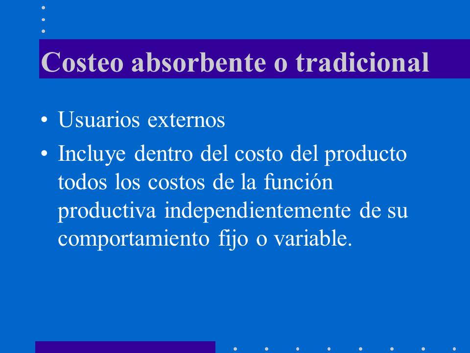 Costeo absorbente o tradicional Usuarios externos Incluye dentro del costo del producto todos los costos de la función productiva independientemente de su comportamiento fijo o variable.