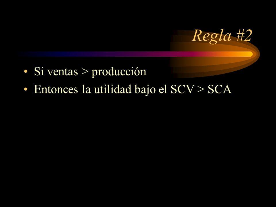 Regla #2 Si ventas > producción Entonces la utilidad bajo el SCV > SCA