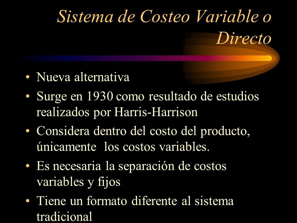 Sistema de Costeo Variable o Directo Nueva alternativa Surge en 1930 como resultado de estudios realizados por Harris-Harrison Considera dentro del co