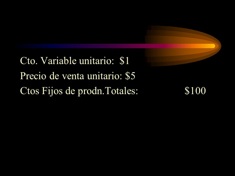 Cto. Variable unitario: $1 Precio de venta unitario: $5 Ctos Fijos de prodn.Totales:$100