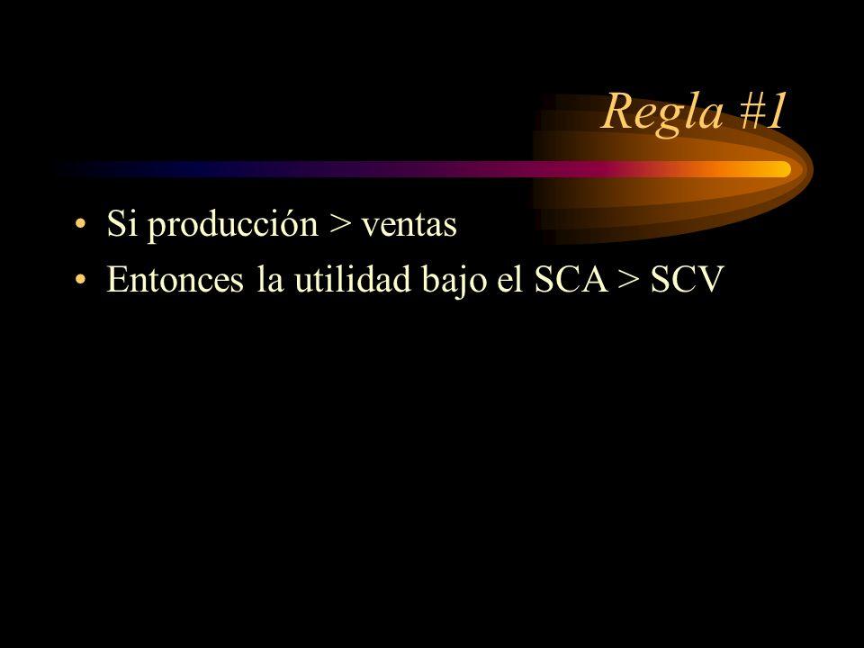 Regla #1 Si producción > ventas Entonces la utilidad bajo el SCA > SCV