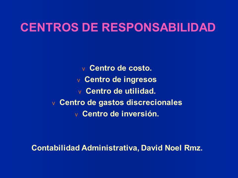CENTROS DE RESPONSABILIDAD v Centro de costo. v Centro de ingresos v Centro de utilidad. v Centro de gastos discrecionales v Centro de inversión. Cont