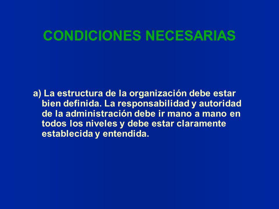 CONDICIONES NECESARIAS a) La estructura de la organización debe estar bien definida. La responsabilidad y autoridad de la administración debe ir mano