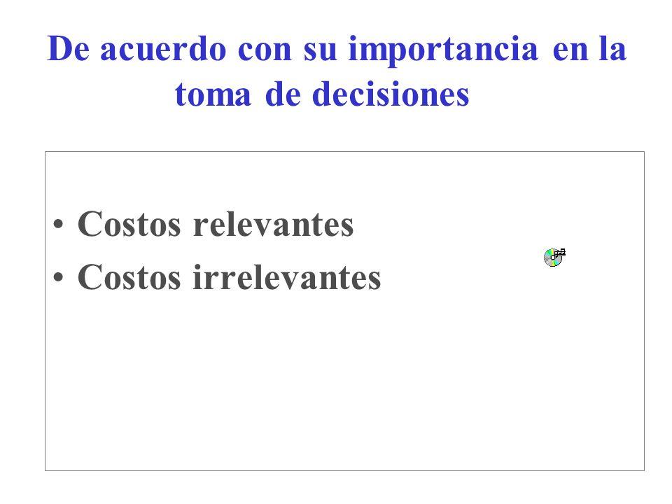 De acuerdo con su importancia en la toma de decisiones Costos relevantes Costos irrelevantes