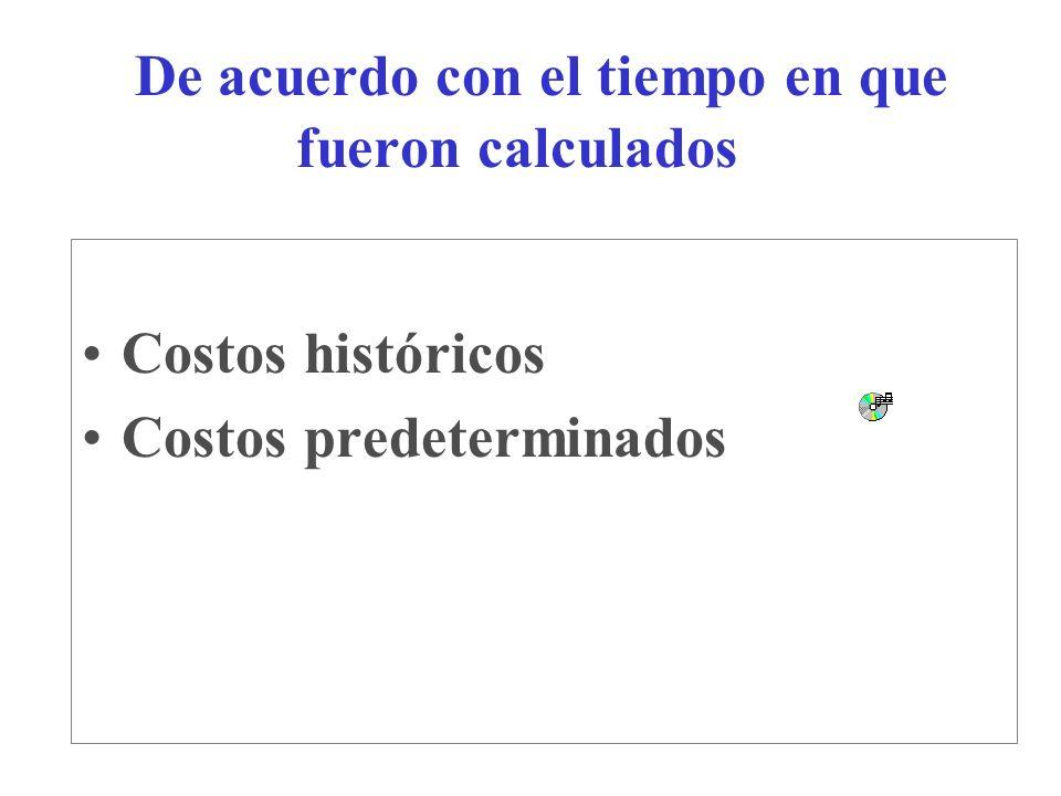De acuerdo con el tiempo en que fueron calculados Costos históricos Costos predeterminados