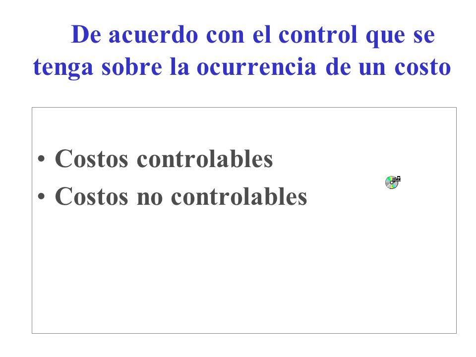 De acuerdo con el control que se tenga sobre la ocurrencia de un costo Costos controlables Costos no controlables