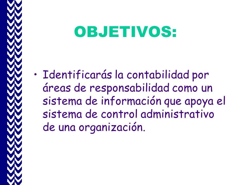 OBJETIVOS: Identificarás la contabilidad por áreas de responsabilidad como un sistema de información que apoya el sistema de control administrativo de una organización.