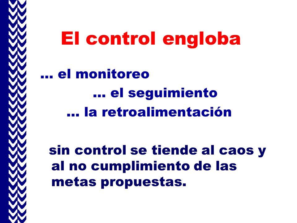 El control engloba … el monitoreo … el seguimiento … la retroalimentación sin control se tiende al caos y al no cumplimiento de las metas propuestas.