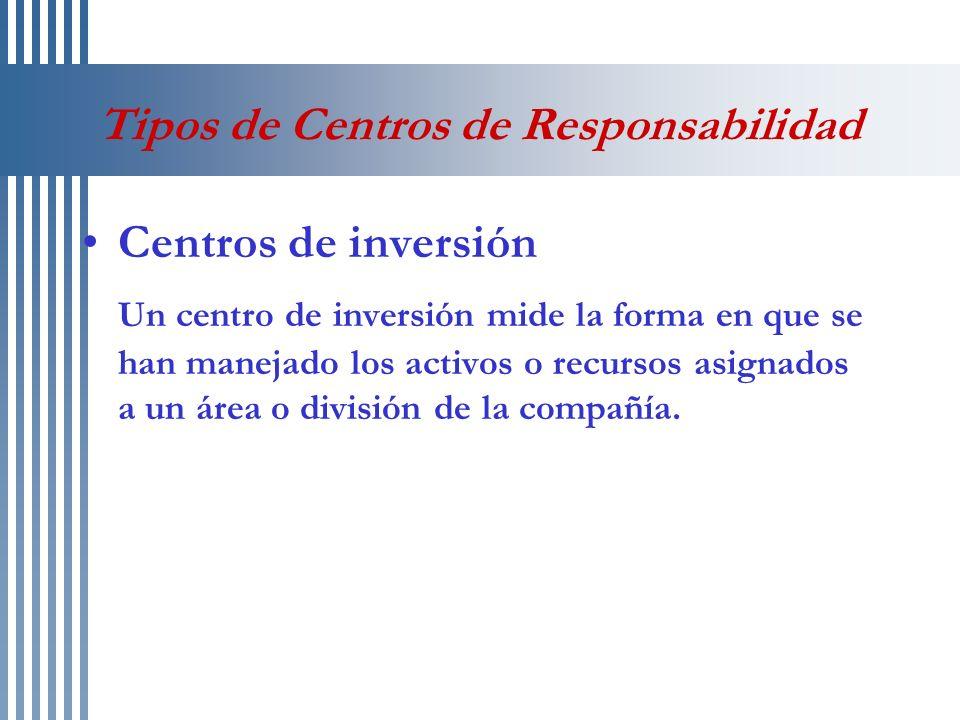 Tipos de Centros de Responsabilidad Centros de inversión Un centro de inversión mide la forma en que se han manejado los activos o recursos asignados