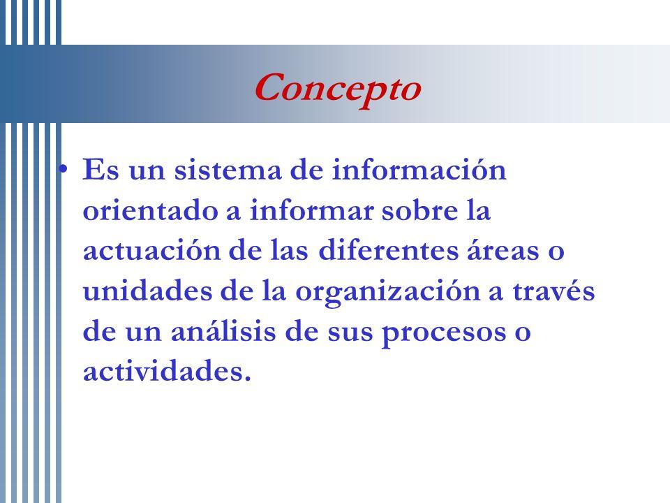 Concepto Es un sistema de información orientado a informar sobre la actuación de las diferentes áreas o unidades de la organización a través de un aná