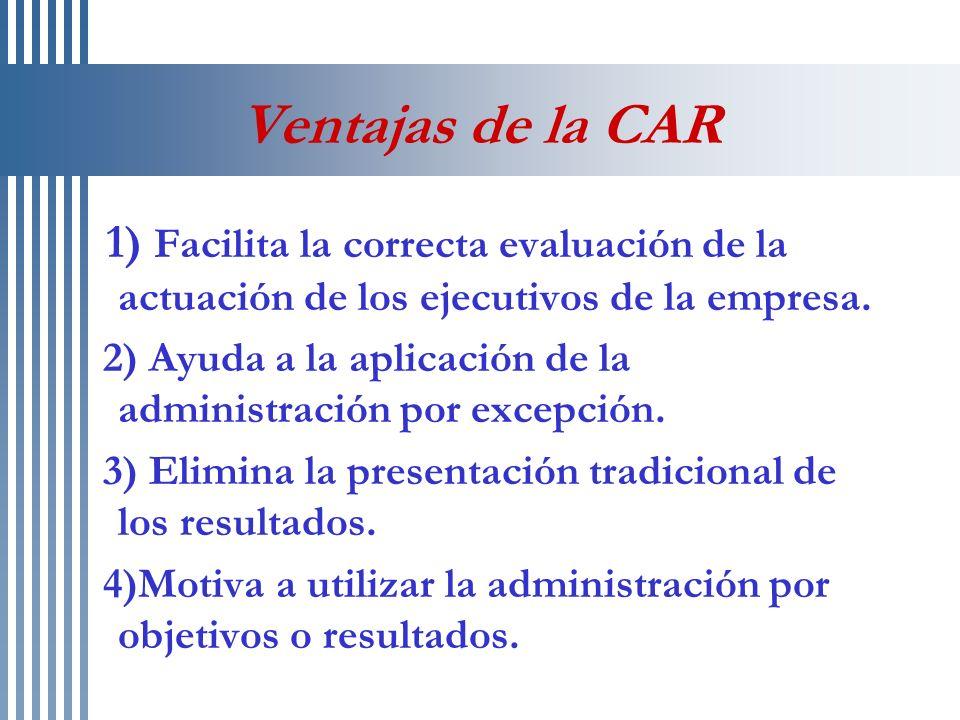 Ventajas de la CAR 1) Facilita la correcta evaluación de la actuación de los ejecutivos de la empresa. 2) Ayuda a la aplicación de la administración p