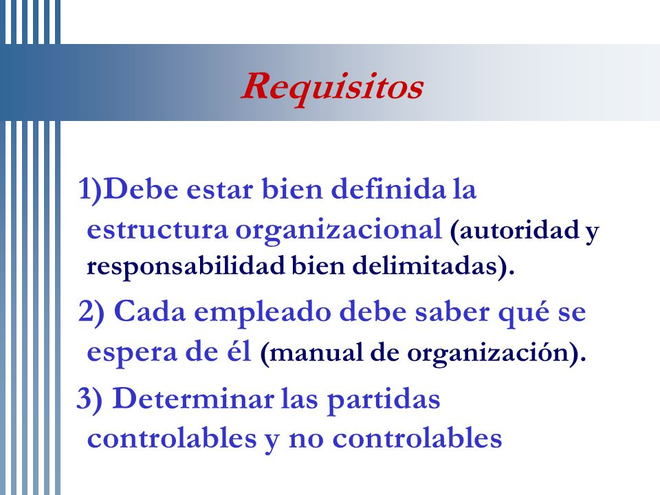 Tipos de Centros de Responsabilidad Centros de costos estándar Centros de ingresos Centros de gastos discrecionales Centros de utilidades Centros de inversión