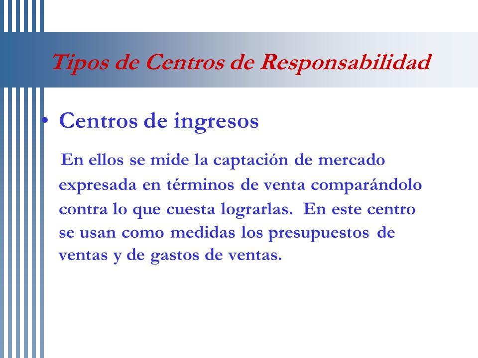 Tipos de Centros de Responsabilidad Centros de gastos discrecionales Es utilizado especialmente en áreas administrativas que prestan servicio a la línea, ejemplos: contabilidad, recursos humanos, investigación y desarrollo, etc.