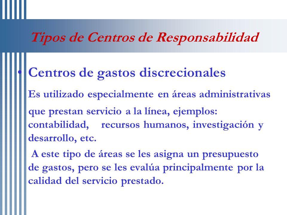 Tipos de Centros de Responsabilidad Centros de gastos discrecionales Es utilizado especialmente en áreas administrativas que prestan servicio a la lín
